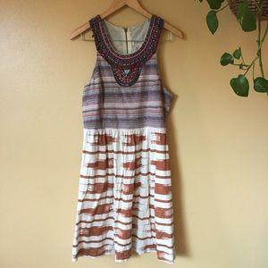Lucky Brand Beaded Natural Boho woven tribal dress